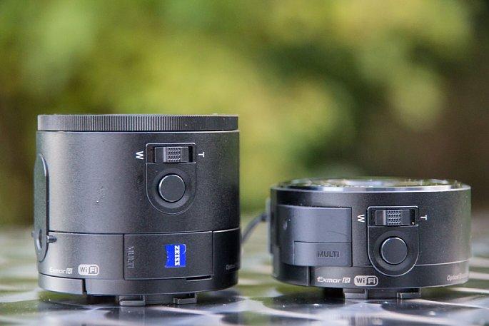 Bild Das Modul QX100 (links) ist deutlich größer und schwerer als das QX10 mit 10-fachem Zoom (rechts). [Foto: Martin Vieten]