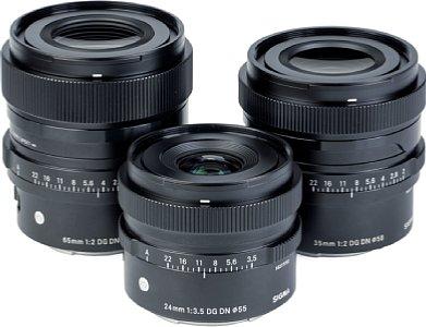 Bild Sigma Objektive von links nach rechts: 65 mm F2 DG DN Contemporary, 24 mm F3.5 DG DN Contemporary und 35 mm F1.2 DG DN Art. [Foto: MediaNord]
