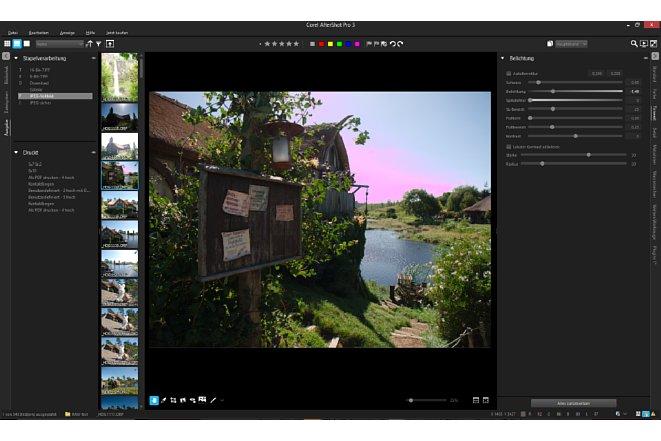 Bild Die Corel AfterShot Pro 3 Arbeitsfläche mit negativ eingestellter Belichtungskorrektur. Der deutliche Magentastich resultierte aus einem Fehler der Software und dieser wurde durch ein Programmupdate behoben. [Foto: Medianord]