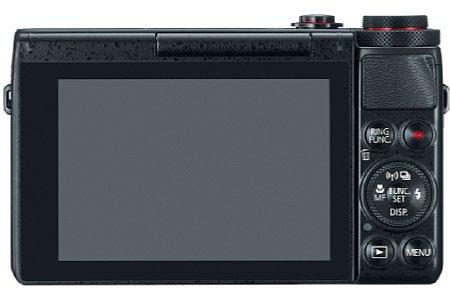 Bild Auf der Rückseite verfügt die Canon PowerShot G7 X über einen 7,5 Zentimeter großen Touchscreen, der sich für Selbstporträts um 180 Grad nach oben klappen lässt. [Foto: Canon]