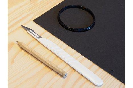 Bild Mit Hilfe eines Filters oder Reduzierrings zeichnen Sie die Außenmaße der Blende an. [Foto: MediaNord]