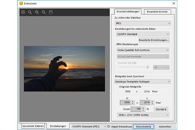 Bild Die Funktion zum Entwickeln der Bilder erlaubt verschiedene Voreinstellungen und Optionen. [Foto: MediaNord]