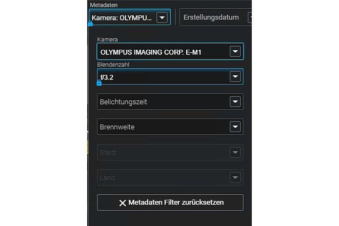Bild Aber auch andere Metadaten lassen sich als Filter verwenden. [Foto: MediaNord]