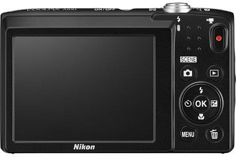 Bild Das rückwärtige LC-Display der Nikon Coolpix A100 misst 6,7 Zentimeter in der Diagonale und löst 230.000 Bildpunkte aus. [Foto: Nikon]