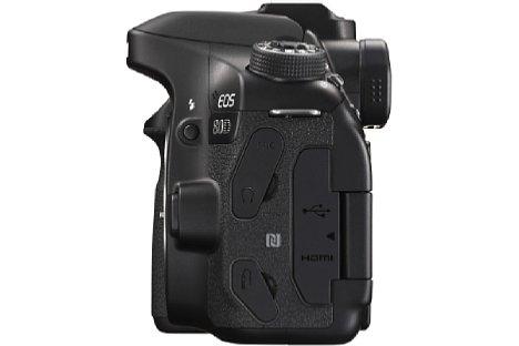 Bild Dank WLAN und NFC lässt sich die Canon EOS 80D mit einem Smartgerät verbinden, um Fotos drahtlos zu übertragen oder aber die Kamera mit Hilfe der entsprechenden App fernzusteuern. [Foto: Canon]