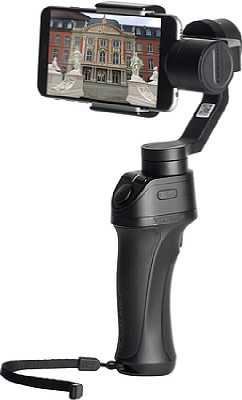 Der Freevision Vilta-M Smartphone Gimbal arbeitet mit Smartphones mit Android oder iOS zusammen. Direkt am Griff befindet sich ein Joystick, mit dem das Smartphone ausgerichtet werden kann. [Foto: Freevidion]