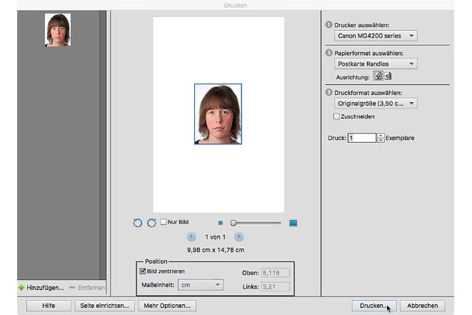 Bild Wenn Sie das Passbild einzeln ausdrucken, verschenken Sie viel Platz auf dem teuren Fotopapier. [Foto: Markt+Technik]