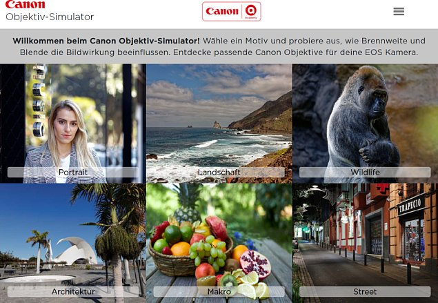 Bild Der Canon-Objektivsimulator nimmt den Einsatzzweck der zu simulierenden Objektive mit in die Auswahl und bietet für jede Kategorie ein passendes Motiv an. [Foto: MediaNord]