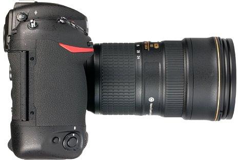 Bild Der Griff der Nikon D5 liegt perfekt in der Hand. Der eingebaute Hochformatgriff hingegen fällt leider etwas weniger ausgeprägt aus. [Foto: MediaNord]