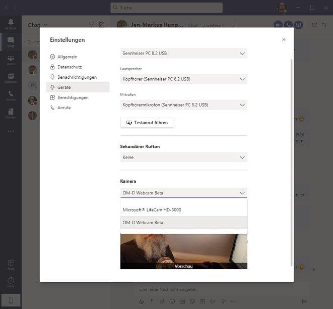 Bild Die Olympus OM-D Webcam Beta bindet sich als auswählbare Webcam-Option in den Einstellungen der Software ein, wie man hier in Microsoft Teams sehen kann. [Foto: Medianord]