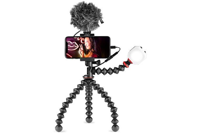 Bild Das Mikrofon (oder die LED-Leuchte) kann auch direkt auf der Smartphone-Halterung montiert werden. [Foto: Joby]