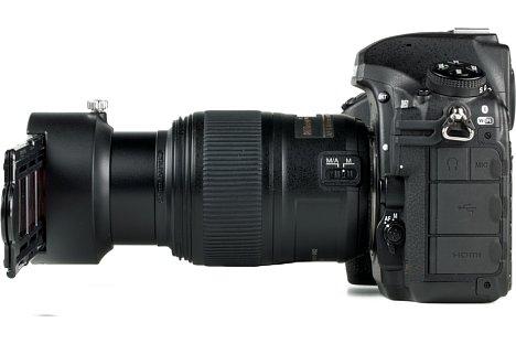 Bild Lediglich für die Beleuchtung muss der Fotograf sorgen, wenn beispielsweise wie hier die D850 mit 60 mm Makro und dem ES-2 eingesetzt werden soll. [Foto: MediaNord]
