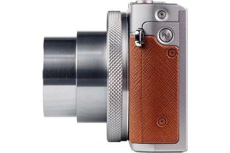 Bild Auf der rechten Gehäuseseite der PowerShot G9 X Mark II befindet sich lediglich der Taster, um die WLAN-Funktion zu aktivieren. [Foto: MediaNord]