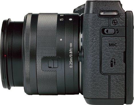 Bild Auf der linken Seite der Kamera findet sich die Abdeckung des Mikrofon- sowie des Fernauslöseanschlusses. [Foto: MediaNord]