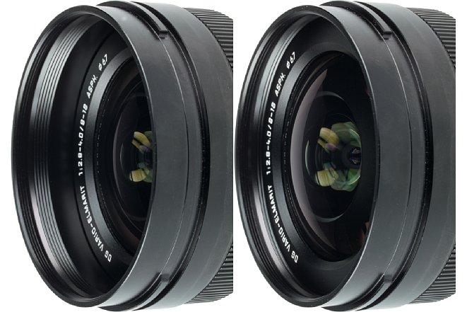 Bild Beim Zoomen zieht sich die Frontlinse des Panasonic Leica DG Vario-Elmarit 8-18 mm F2.8-4 ASPH nach hinten zurück, wodurch sich ein gewisser Sonnenblenden-Effekt ergibt und die Frontlinse besser vor mechanischen Einflüssen geschützt wird. [Foto: MediaNord]