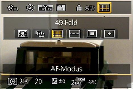 Bild Quick-Menü der Panasonic Lumix DMC-FZ1000 mit AF-Feld-Auswahl. [Foto: MediaNord]