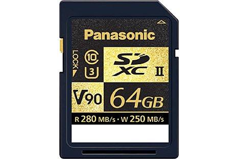 Bild Eine der schnellsten SDXC UHS II Karten am Markt stammt von Panasonic. Sie erfüllt die Class 10, die UHS Speed Class 30 und die Video Speed Class 90. Die maximale Schreibgeschwindigkeit liegt bei 250 MB/s, die Lesegeschwindigkeit erreicht bis zu 280 MB/s. [Foto: Panasonic]