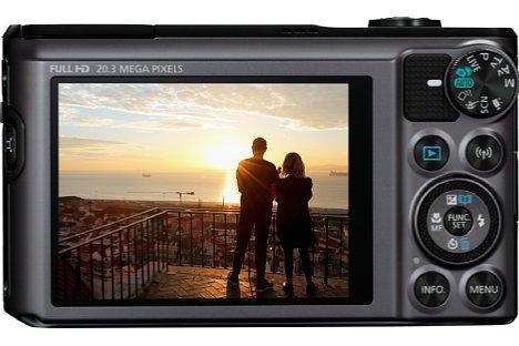 Bild Auf der Rückseite bietet die Canon PowerShot SX720 HS einen fest verbauten 7,5cm-Bildschirm mit 922.000 Bildpunkten Auflösung. [Foto: Canon]