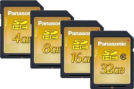 Panasonic SDHC Class 10 mit 4 GB, 8 GB, 16 GB und 32 GB [Foto: Panasonic]