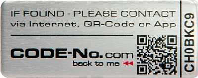 CODE-No.com Sicherheitslabel Standard-Rechteck Alu