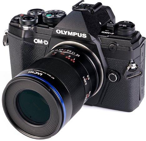 Bild Die Frontlinse des Laowa 50 mm F2,8 Ultra Macro ist sehr flach. [Foto: MediaNord]