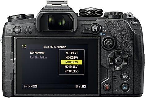 Bild Die Olympus E-M1 Mark III kann ND-Stärken von ND2 bis ND32 direkt in der Kamera simulieren. [Foto: Olympus]