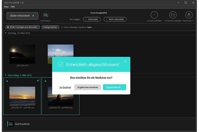 Bild Nach der Verarbeitung der Bilder bietet PureRaw dem Bildbearbeiter weitere Optionen zum Export beziehungsweise der Bildansicht an. [Foto: MediaNord]