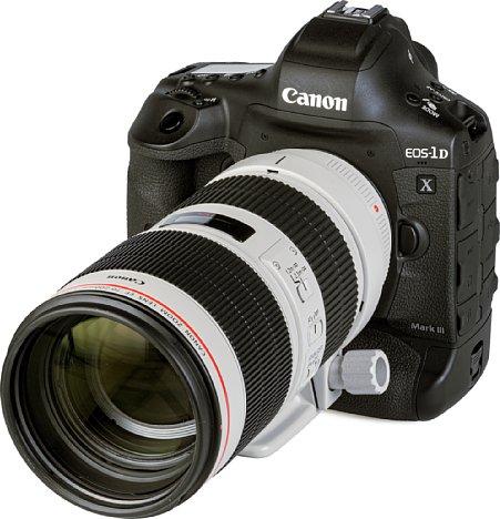 Bild Dank der guten Ergonomie der EOS-1D X Mark III liegt die Kombination mit demCanon EF 70-200 mm 2.8 L IS III USM trotz 3,1 Kilogramm Gewicht gut in der Hand. [Foto: MediaNord]