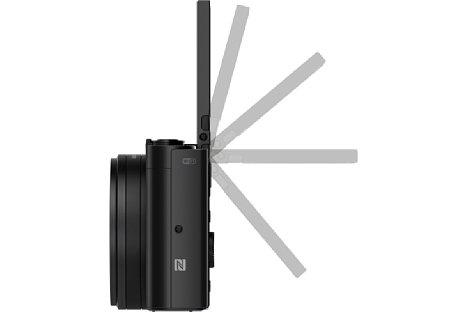 Bild Der 7,5-cm-Bildschirm der Sony Cyber-shot DSC-WX500 lässt sich wie bei der HX90 und HX90V um bis zu 180 Grad nach oben klappen, was bodennahe Aufnahmen und Selfies erleichtert. [Foto: Sony]