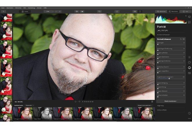 """Bild Mit dem """"Porträt Enhancer"""" stehen dem Bildbearbeiter eine Vielzahl automatisierter Funktionen zur Verfügung, unter anderem auch die """"Verschlankung"""" von Gesichtern. [Foto: Medianord]"""