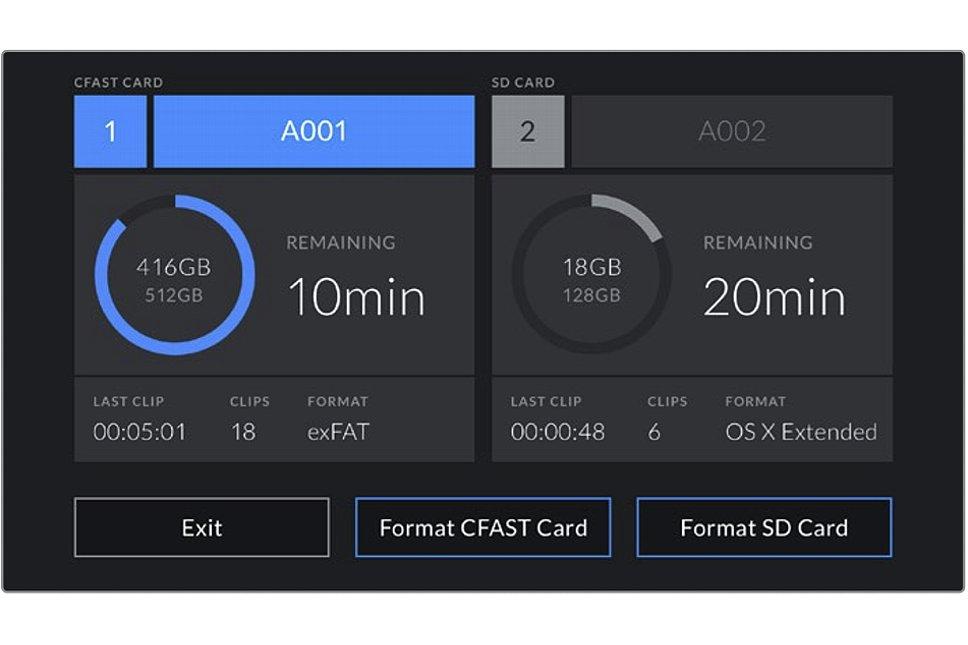 Bild Statusanzeige der Blackmagic Pocket Cinema Camera 4K für die beiden Kartenschächte. Wird ein externes Laufwerk angeschlossen erscheint dies Anstelle der SD-Card. [Foto: Blackmagic]