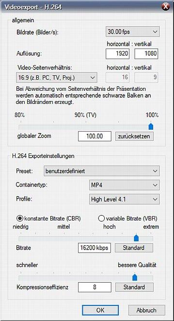 Bild Der MP4-Exportdialog erlaubt viele Detaileinstellungen zur Anpassung der Auflösung beziehungsweise Kompression und Enkodierungsqualität. [Foto: MediaNord]