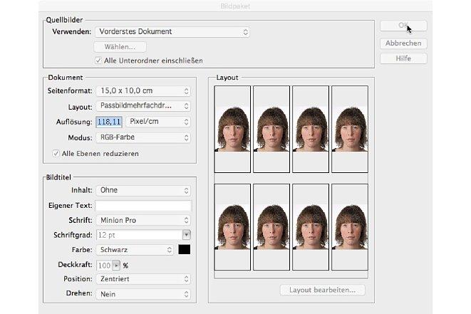 """Bild Mit der Funktion """"Bilderpaket"""" können mehrere Bilder automatisiert auf ein Druckfromat gelayoutet werden.Die """"Bilderpaket""""-Funktion muss separat von Adobe heruntergeladen werden und funktioniert nur mit der 32-Bit-Version von Photoshop Elements. [Foto: Markt+Technik]"""