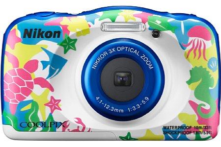 """Bild Ab Oktober 2016 soll diese fünfte, """"Marine"""" genannte Farbvariante der Nikon Coolpix W100 erhältlich sein. Die bunten Motive aus der Meeresbewohner sollten vor allem kleine Kinder ansprechen. [Foto: Nikon]"""