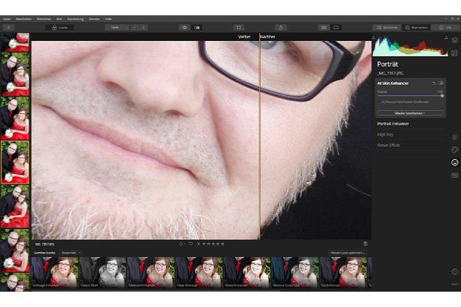 """Bild Der AI Skin Enhancer sorgt für eine Haut wie Porzellan und beseitigt auf Wunsch auch Hautunreinheiten. Dabei geht die Funktion recht sorgsam mit den feinen Hautdetails um, so dass kein Eindruck eines """"wegbügelns"""" entsteht. [Foto: Medianord]"""