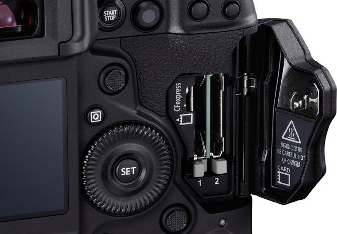 Bild Das Speicherkartenfach der Canon EOS-1D X Mark III nimmt zwei CFexpress-Karten des Typs B auf. Die bis zu 2000 MB/s schnellen Speicherkarten können im Betrieb sehr heiß werden. [Foto: Canon]