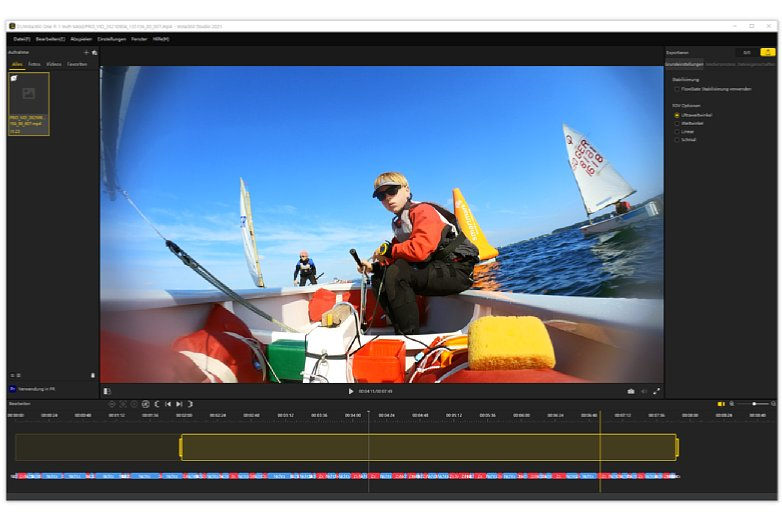 Bild Die Insta360 One R speichert die Videos immer mit vollem Bildwinkel. Hier ein Screenshot von der Beispielaufnahme, bei der man am Rand die unter Sonneneinstrahung an der Frontscheibe kondensierte Feuchtigkeit sieht. [Foto: MediaNord]