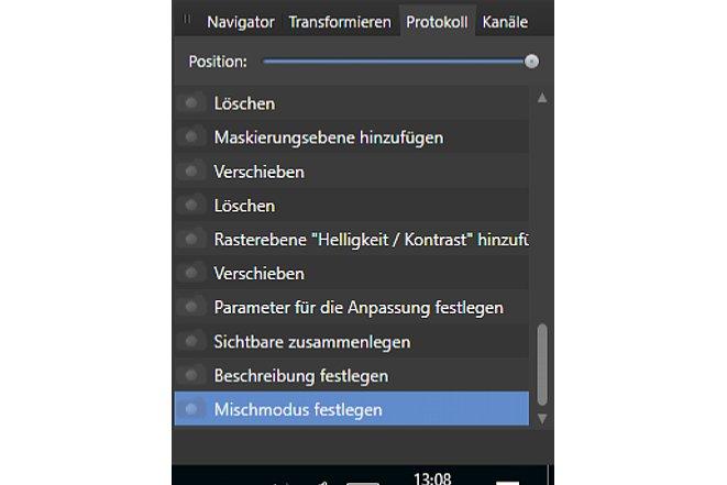 Bild Das Protokoll erlaubt dem Anwender, Arbeitsschritte zurückzugehen. Außerdem kann das Protokoll mit einer Bilddatei exportiert werden. [Foto: MediaNord]