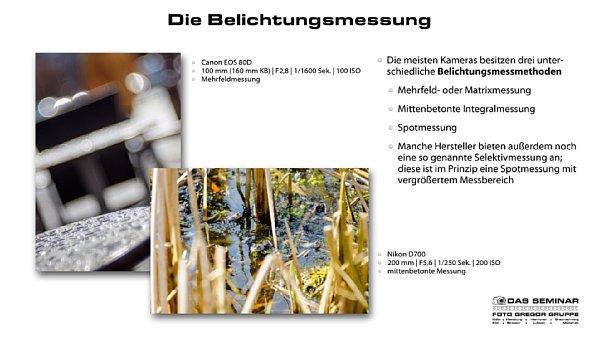 """Bild Auszug aus der in dem Kamerakurs für Fortgeschrittene verwendeten Präsentation. Hier eine Seite aus dem Kapitel """"Die Belichtungsmessung"""". [Foto: Foto Gregor Gruppe]"""