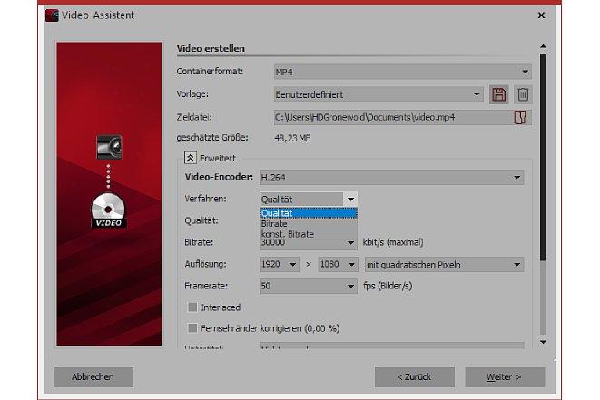Bild Bei diesen Optionen können Sie bestimmen, nach welchem Verfahren das Video encodiert werden soll. [Foto: MediaNord]