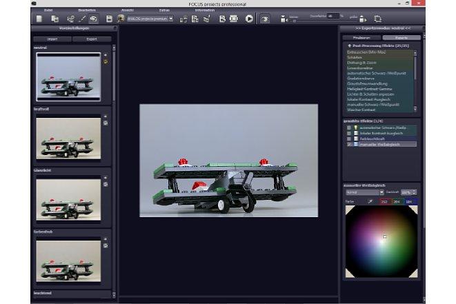 Bild Die Arbeitsfläche zeigt auf der linken Seite die Voreinstellungen, in der Mitte die aktuelle Vorschau und rechts die Effekte und Detaileinstellungen. [Foto: MediaNord]