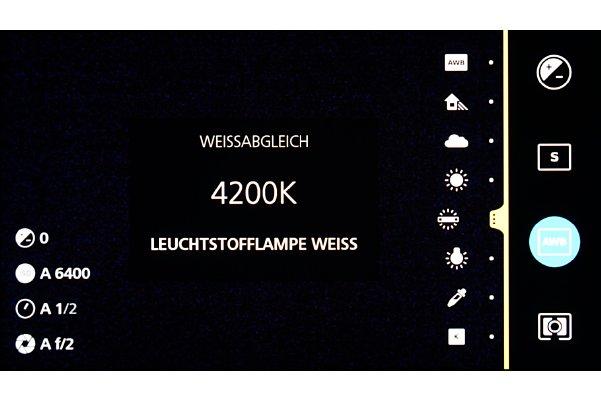 Bild Die Touchsteuerung der ZX1 ist schnell verinnerlicht. Das liegt zum einen an dem präzisen Display und zum anderen an der Abstinenz eines großen Einstellungsumfangs. So verzichtet die Kamera beispielsweise auf unterschiedliche Auflösungsstufen. [Foto: MediaNord]