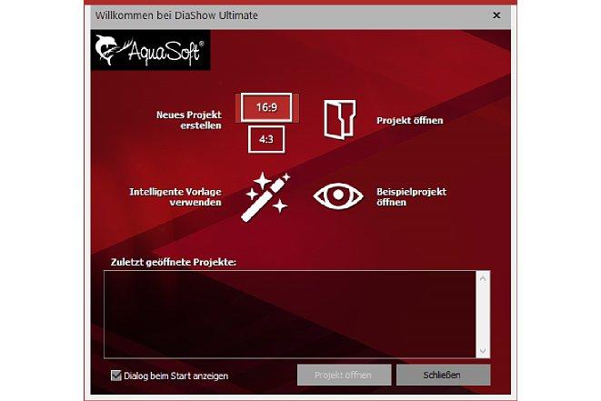 Bild Der Wilkommensdialog zeigt dem Benutzer alle ihm zur Verfügung stehenden Optionen. [Foto: MediaNord]