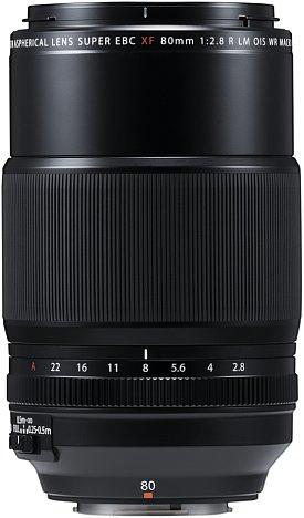 Bild Mit einem Blendenring, einem Fokusring, einem Fokus-Begrenzungsschalter sowie dem Bildstabilisator-Schalter bietet das Fujifilm XF 80 mm F2.8 R LM OIS WR Macro fast alle Bedienelemente, die man sich wünschen kann. Nur ein Fokusschalter fehlt. [Foto: Fujifilm]