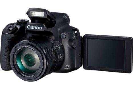 Bild Dank des dreh- und schwenkbaren Displays gelingen mit der Canon PowerShot SX70 HS Aufnahmen aus allen möglichen Perspektiven. Auch einen integrierten Blitz bietet die Bridgekamera. [Foto: Canon]