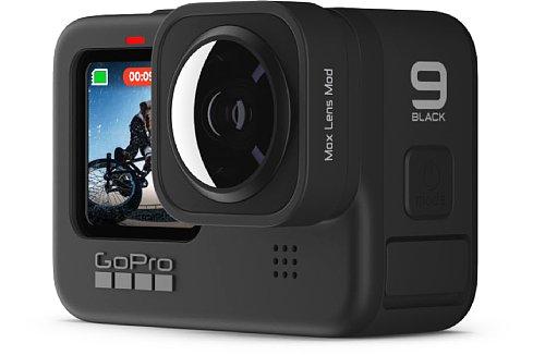 Bild GoPro Hero9 mit Lens Mod: Der Ultraweitwinkelkonverter wird auf das normale Weitwinkelobjektiv aufgesteckt. [Foto: GoPro]
