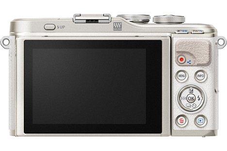 Bild Zwar bietet die Olympus Pen E-PL9 keinen Sucher, dafür aber einen 7,5 Zentimeter großen Touchscreen, über den nun optional auch ein Teil der Bedienung erfolgen kann. [Foto: Olympus]