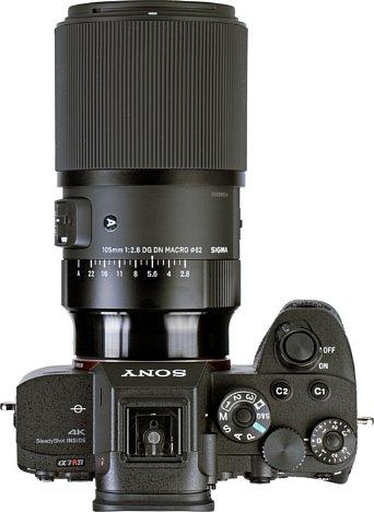 Bild Deutlicher als auf den Produktfotos ist auf diesem Foto desSigma 105 mm F2.8 DG DN Macro Art an der Sony Alpha 7R IV zu sehen, dass der hintere Teil des Tubus deutlich glänzender ausfällt als der Rest des Objektivs. Das stört ein wenig das Design. [Foto: MediaNord]