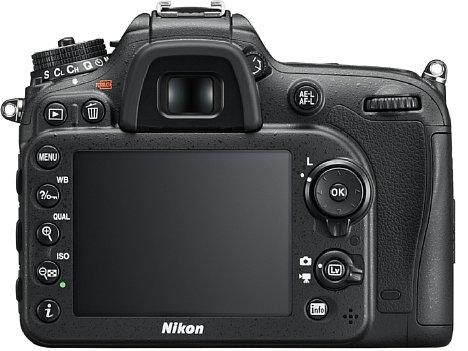 Bild Der acht Zentimeter große, 1,23 Millionen Bildpunkte auflösende Bildschirm der Nikon D7200 ist fest verbaut. Außerdem bietet sie einen 0,94-fach vergrößernden Spiegelreflexsucher mit 100 Prozent Bildfeldabdeckung. [Foto: Nikon]