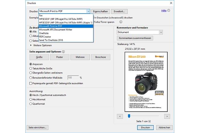 Bild Mit dem Adobe Acrobat Reader kann der Anwender PDF-Dateien als neue PDF Datei drucken. [Foto: Medianord]